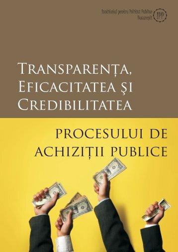 Transparenţa achiziţiilor publice - Institutul pentru Politici Publice