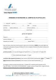 domanda di iscrizione al campus di atletica 2013 - Fidal Piemonte