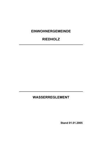 Wasserreglement - Gemeinde Riedholz