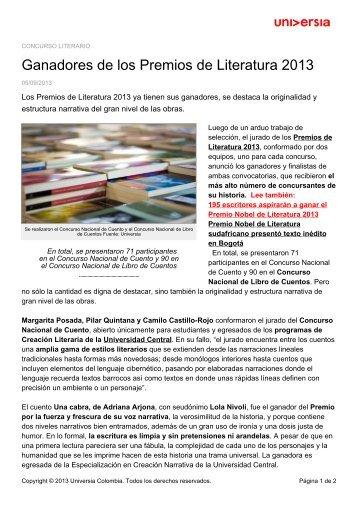 Ganadores de los Premios de Literatura 2013 - Noticias - Universia