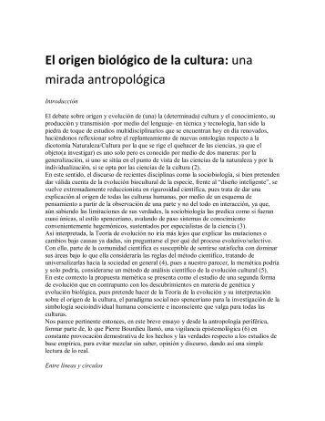 El origen biológico de la cultura: una mirada ... - Territorio Chile