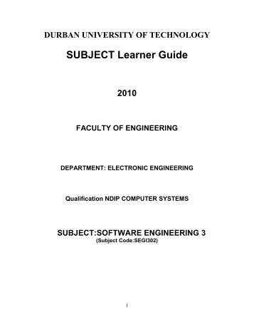 Software Engineering 3 - CS DUT - Durban University of Technology