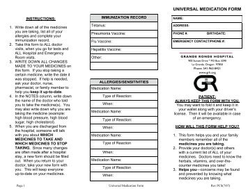 Universal Medication Form (PDF) - Grande Ronde Hospital