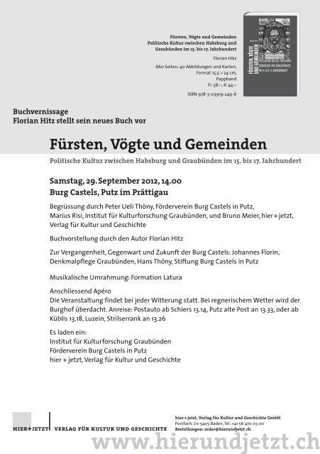 Fürsten, Vögte und Gemeinden - Förderverein Burg Castels in Putz