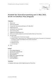 Protokoll GV - Förderverein Burg Castels in Putz