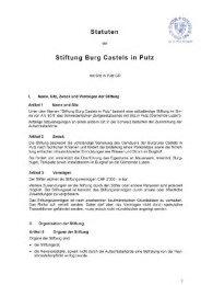 Statuten Stiftung Burg Casteis in Putz - Förderverein Burg Castels in ...