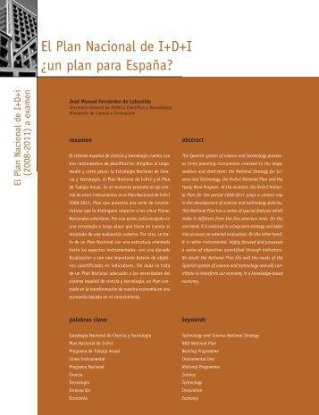 El Plan Nacional de I+D+I ¿un plan para España? - Madri+d