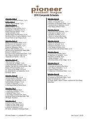 2010 Composite Schedule - Pioneer Football League