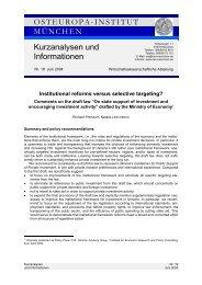 OSTEUROPAINSTITUT MÜNCHEN Kurzanalysen und Informationen