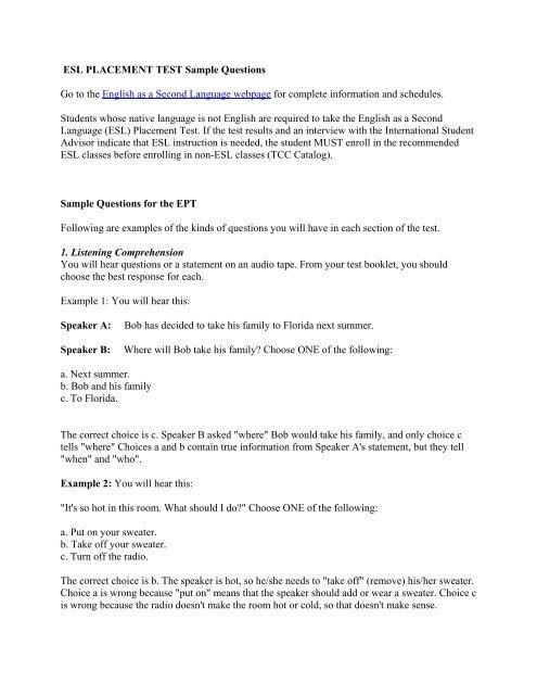 ESL PLACEMENT TEST Sample Questions
