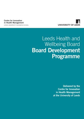 Leeds HWBB flyer - Centre for Innovation in Health Management