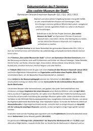 """Dokumentation des P-Seminars """"Das coolste ... - GCE Bayreuth"""
