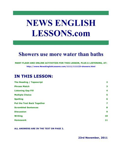 Showers use more water than baths   News English Lessons