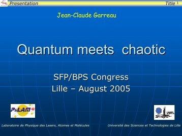 Quantum chaos - Physique des Lasers, Atomes et Molecules