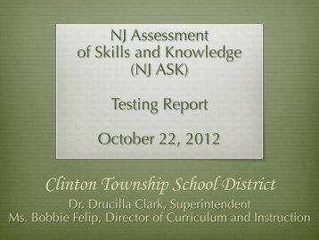 NJ ASK Report – BOE PPT 2012 - Clinton Township School District