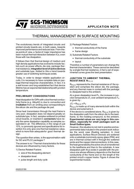 thermal management in surface mounting - Datasheet Catalog