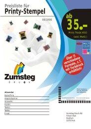Preisliste für Printy-Stempel - Zumsteg Druck AG
