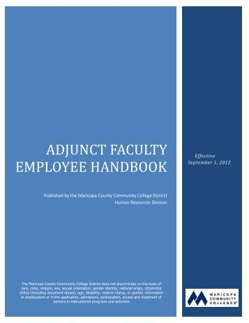 Adjunct Faculty Employee Handbook - Maricopa Community Colleges