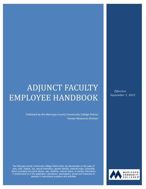 Adjunct Faculty Employee Handbook - Maricopa Community Colleges