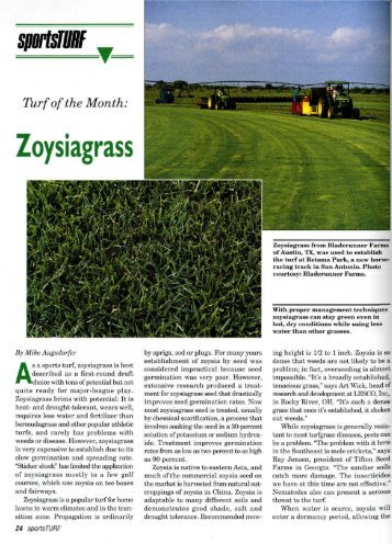 Turf of the Month: Zoysiagrass - About SportsTurf