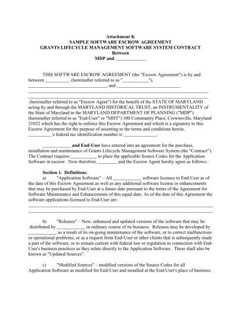 Attachment K Sample Software Escrow Agreement