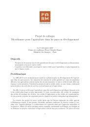 Projet de colloque Microfinance pour l'agriculture ... - Fondation FARM