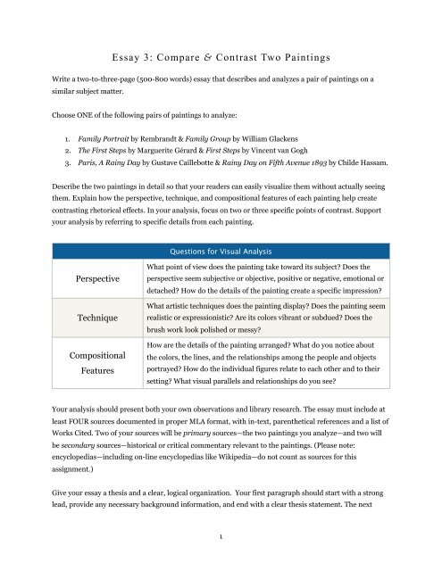 Political Science Essays  Essays About Health Care also Sample Of Proposal Essay Essay  Compare  Contrast Two Paintings   Dr Mark Womack Environmental Science Essays