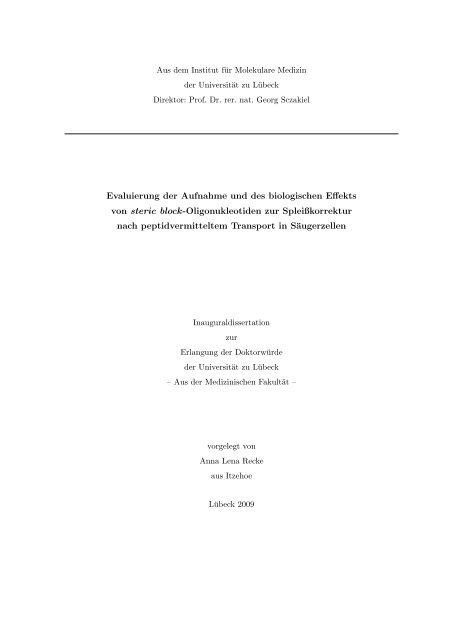 Evaluierung der Aufnahme und des biologischen Effekts von steric ...