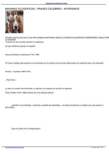 MAXIMAS FILOSOFICAS - FRASES CELEBRES - AFORISMOS en ...