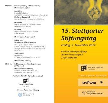 15. Stuttgarter Stiftungstag Freitag, 2. November 2012