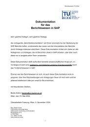 Dokumentation für das Berichtswesen in SAP