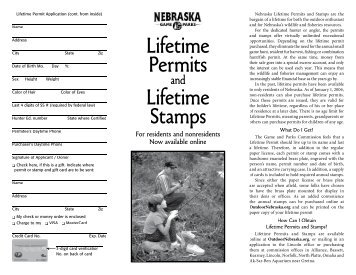 Lifetime Permits - Nebraska Game and Parks Commission
