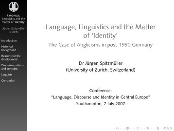 Language, Linguistics and the Matter of 'Identity' - Jürgen Spitzmüller