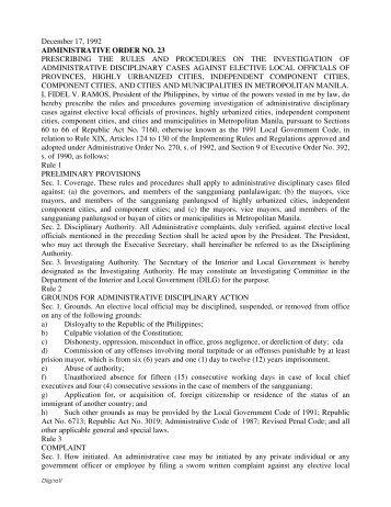 Administrative Order No. 23 - DILG Regional Office No. 5