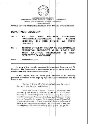 Department Advisory - DILG Regional Office No. 5