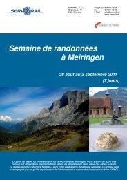 Semaine de randonnées à Meiringen 28 août au 3 ... - SERVRail