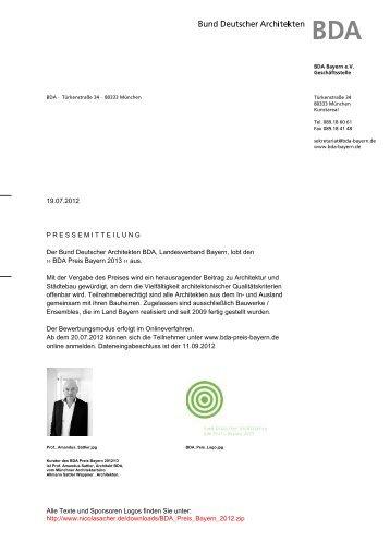 19.07.2012 PRESSEMITTEILUNG Der Bund Deutscher Architekten ...