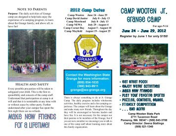 CAMP WOOTEN JR. GRANGE CAMP Make new friends for a lifetime!