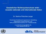 Dr. Martina Pötschke-Langer Deutsches Krebsforschungszentrum ...