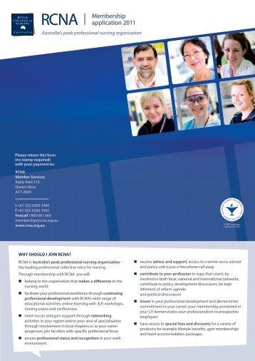 Membership application 2011 - Royal College of Nursing, Australia