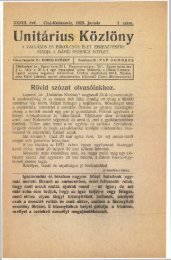 1923 - Magyarországi Unitárius Egyház