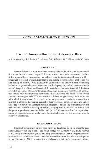 PEST MANAGEMENT: WEEDS Use of Imazosulfuron in Arkansas Rice