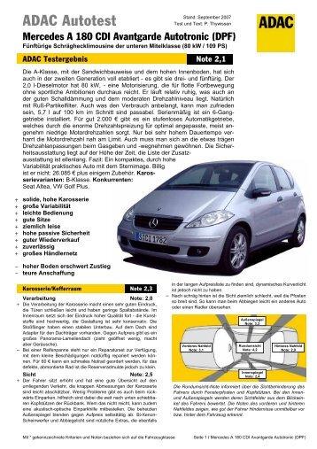 Umfassender Test Mercedes  A 180 CDI Avantgarde Autotronic - ADAC