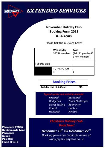 April Holiday Club Booking Form - Plymouth YMCA