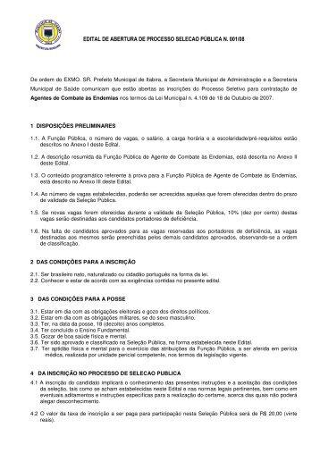 edital de abertura de processo selecao pública n. 001/08 - Fundep