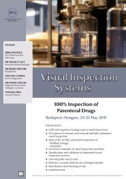 Visual Inspection Systems - European Compliance Academy