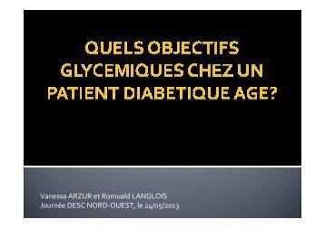 Quels objectifs glycémiques pour un diabétique âgé - PIRG