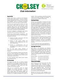 Club Information - Cholsey Tennis Club