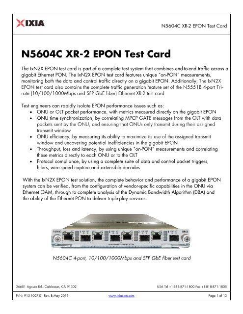 N5604C XR-2 EPON Test Card - Ixia