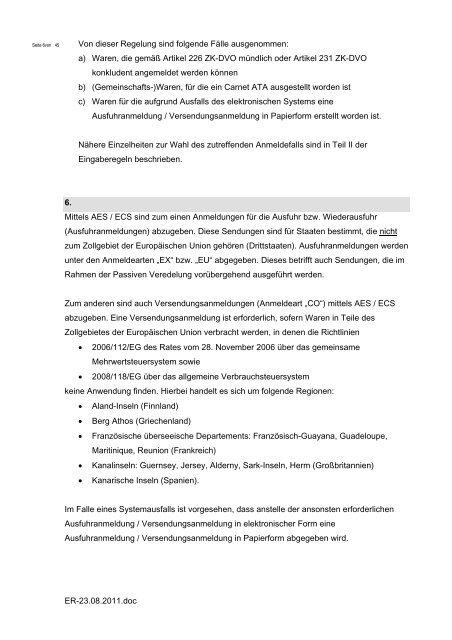 Verbindliche Regeln für die Eingabe zollrelevanter Daten des ...